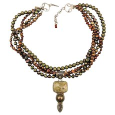 Opulent Cultured Pearl Necklace Multi Strand w/ Sterling Silver Stones Pendant