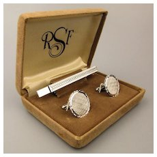1950s Anson Sterling Silver Cufflinks Tie Clasp Boxed Set