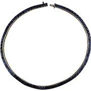 Art Deco Crown Trifari Rhinestone Choker Necklace Channel of Blue