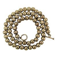 Native American Sterling Silver Bench Bead Necklace 20 Inches