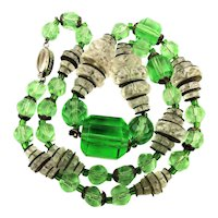 Art Deco Czech Glass Crystal Bead Necklace
