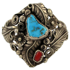 Old Navajo Sterling Silver Cuff Bracelet Turquoise Red Coral