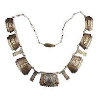 Mid-Century Peruvian Sterling Silver Necklace Handmade Incan Symbols