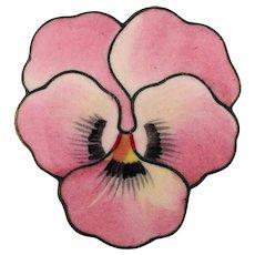 Victorian Enamel Pink Pansy Pin Brooch