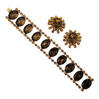 1950s Amber Glass Rhinestone Bracelet w/ Matching Earrings