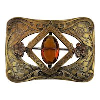 Victorian Large Brass Sash Pin w/ Amber Glass Stone