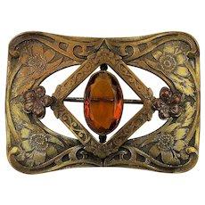 Victorian Large Brass Sash Pin w/ Amber Glass Stone