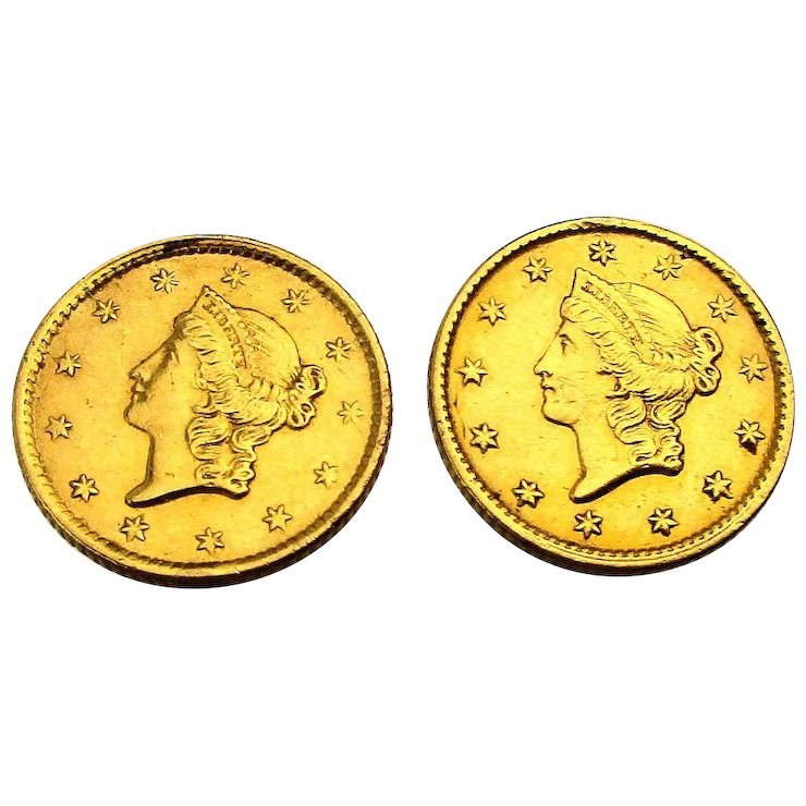 Pair Of 1853 U S One Dollar Gold Coin Earrings 14k Miss Liberty