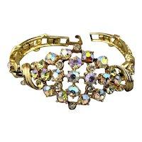 Vintage Domed Aurora Borealis Rhinestone Bracelet