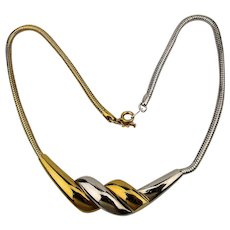 Modernist Crown Trifari Mixed Metals Necklace - Goldtone Meets Silvertone