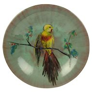 Enamel on Copper Plate Plaque - Handpainted Bird in a Berry Tree