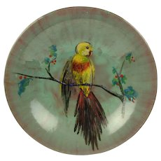 Enamel on Copper Plate Plaque - Handpainted Bird in a Berry Tree