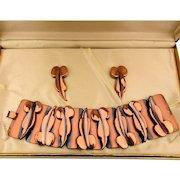 Modernist RENOIR Wide Copper Bracelet w/ Earrings in Original Box