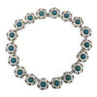 Nina Ricci Necklace - Turquoise Glass Domes in Silvertone Links