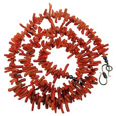 Viintage Branch Coral Necklace w/ Sterling Silver Clasp