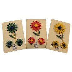 1960s Enamel Flower Pin Earrings Sets on Orig. Cards by DuBarry 3 Colors
