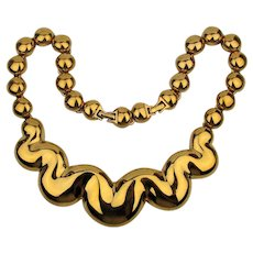Vintage D'Orlan Knockout Goldtone Necklace Big n Bold