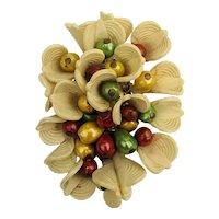 Art Deco Era Big Plastic Floral Pin Bursting w/ Buds