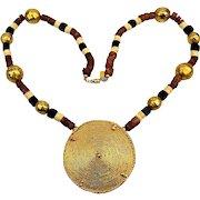 Kenneth Lane Bold Golden Medallion Stone Bead Necklace Tribal Exotica KJL