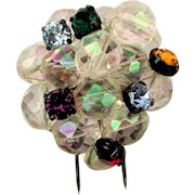 Art Deco Depose French Rhinestone Crystal Bead Ball Fur Clip