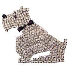 Vintage Pave Rhinestone Scottie Dog Pin Brooch Scotty