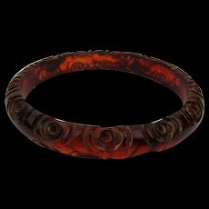 Old Carved Bakelite Bangle Bracelet Reddish Brownish Greatish