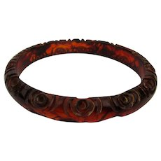 Old Carved Bakelite Bangle Bracelet Reddish Brownish Greatish