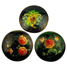 Vintage Russian Hand-Painted Flower Pin Series Lacquered Florals
