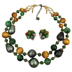 Signed ART Mixed Bag of Beads Necklace - Earrings Set