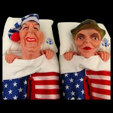 1988 Ronald Nancy Reagan Slippers Flag Shoes Puppets Large Unworn Orig. Bag