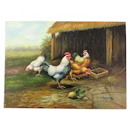 Signed Small Oil Painting on Wood Plump Chickens by Harris