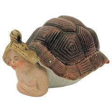 Risque 1920s Germany Bisque Turtle Girl Box w/ Bear Bottom