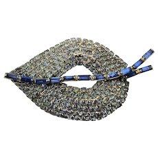 Big Blue Crystal Rhinestone LEAF Pin Brooch