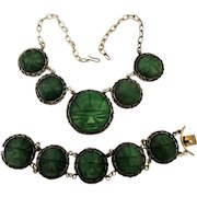 Early Mexican Sterling Silver Jadeite Masks Necklace - Bracelet Set