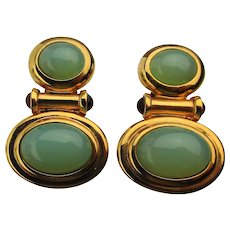 Elizabeth Taylor Faux Jade Clip Earrings Taylored for Avon