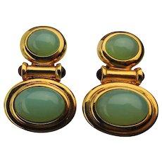 Elizabeth Taylor Faux Jade Clip Earrings Taylored for Avon