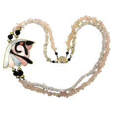 Stone Bead Necklace w/ Mother of Pearl Inlaid Lucite Bird Head