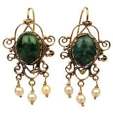 Estate 14K Gold Filigree Jade Earrings w/ Pearl Dangles Jadeite