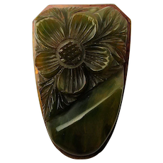 Art Deco 1930s Carved Bakelite Clip - Thick Marbled Floral