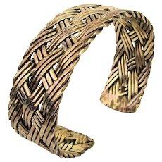Old Heavy Sterling Silver Cuff Bracelet Braided Weave