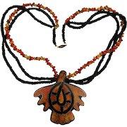 Lucite Laminated TURKEY Pendant Necklace w/ Corny Beads