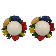 Miriam Haskell Colorful Glass Beaded Earrings