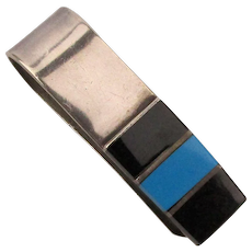 Vintage Mexican Sterling Silver Money Clip Onyx - Turquoise
