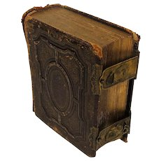 Old Victorian Embossed Leather Photo Album w/ 27 Photos