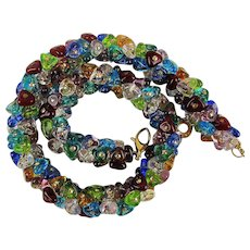 Vintage Antica Murrina Venetian Glass Necklace - Murano Clusters of Color