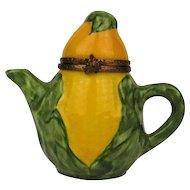 Vintage Rochard Limoges Box Corn Figural Teapot French Miniature