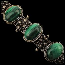 Vintage Sterling Silver Malachite Byzantine Bracelet
