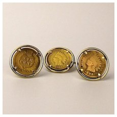 Anson Old Indian Penny Cufflinks Tie Tac Set 1893 - 1907