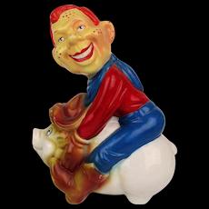1980s Howdy Doody Rides Pig Ceramic Figural Lamp