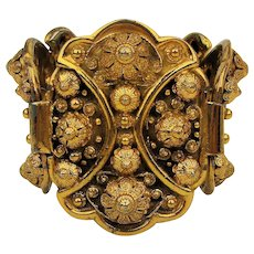 Big Bold Wide Ornate Gilded Bracelet